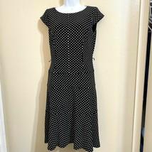 Anne Klein Womens Black White Sleeveless Polka Dot Dress Size 4 NO BELT - $17.99