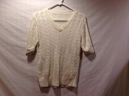 Loose Knit White V Neck Short Sleeve Sweater for Ladies