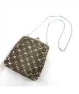 Vintage Clear Gray Beaded Evening Purse Bag Silver Frame Chain Hong Kong - £32.47 GBP