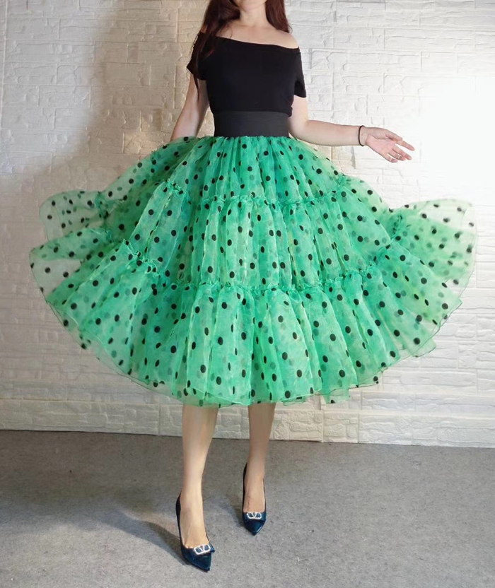 Emerald Green Polka Dot Tulle Skirt A-line Emerald Green Tulle Midi Skirt Outfit
