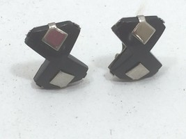Vintage Black Retro Clip On Earrings Art Deco Style 24218 - $7.99
