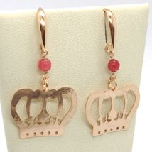 Silver Earrings 925 Laminated in Rose Gold le Favole with Crown Princess image 3