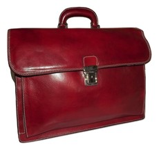 ALESSIA ITALIAN LEATHER FRONT FLAP TRIPLE GUSSET LAWYER'S LAPTOP BRIEFCA... - $376.15