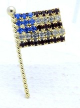Gold Tone Red White Blue Rhinestone American Flag Pin Brooch - $19.80