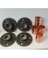 4 X Malleable Iron Flange with 22mm Copper Fittings *Great for metal Bra... - $17.95