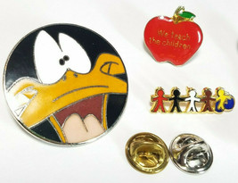 8 Vintage Lapel Pins Daffy Duck Teachers Apple Blue Ribbons And More See Photos image 2