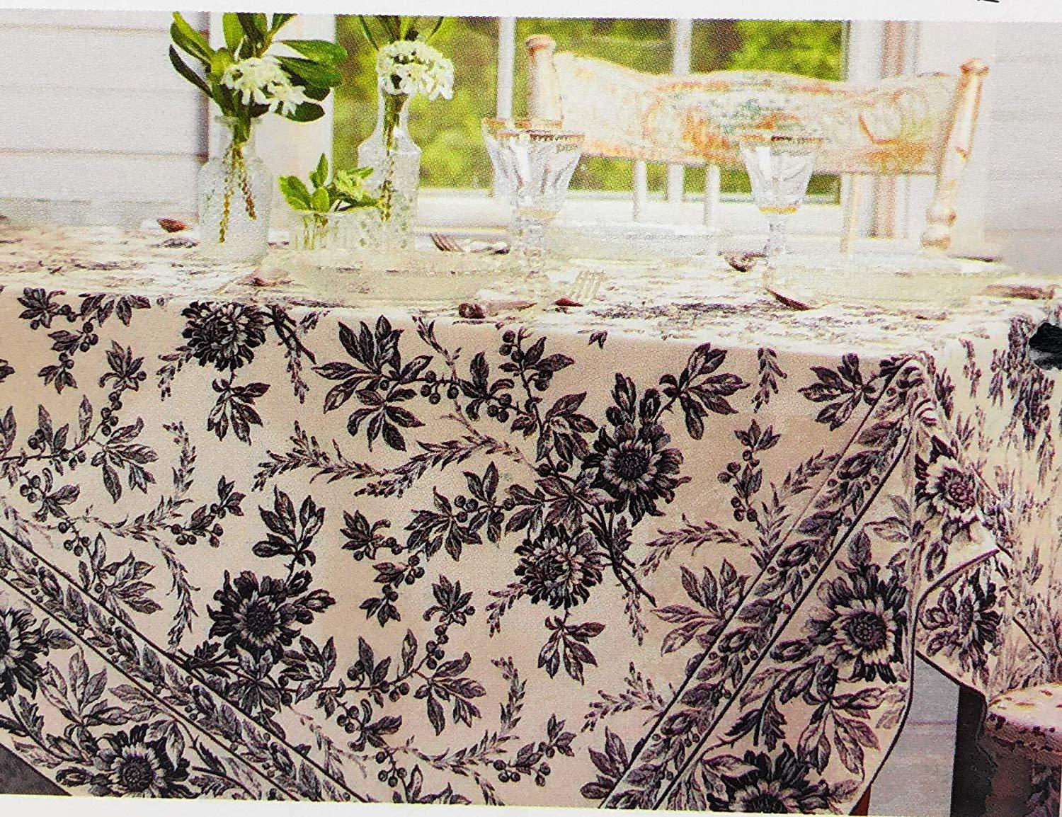 Primary image for April Cornell Felicity Black Ivory Floral Cotton Tablecloth 60 x 84 Oblong