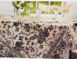 April Cornell Felicity Black Ivory Floral Cotton Tablecloth 60 x 84 Oblong - $35.00