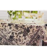 April Cornell Felicity Black Ivory Floral Cotton Tablecloth 60 x 84 Oblong - $37.00