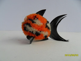 Steiff fish wool miniature orange button stuffed animal  made in Germany 2643 - $31.66