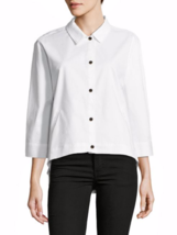 H Halston White Three-Quarter Sleeved Button Front Jacket  ( LARGE ) NWT... - $39.27