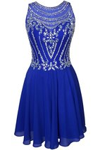 Royal Blue A Line Scoop Chiffon Homecoming Dress Short Beaded Prom Party Dresses - $149.00