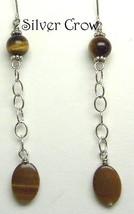 Tiger Eye & Silver Chain Dangle Earrings - $10.99
