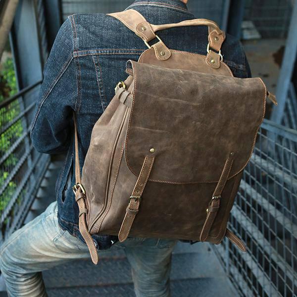 Sale, Handmade Men Backpack, Horse Leather Travel Backpack, Vintage Laptop Backp image 4