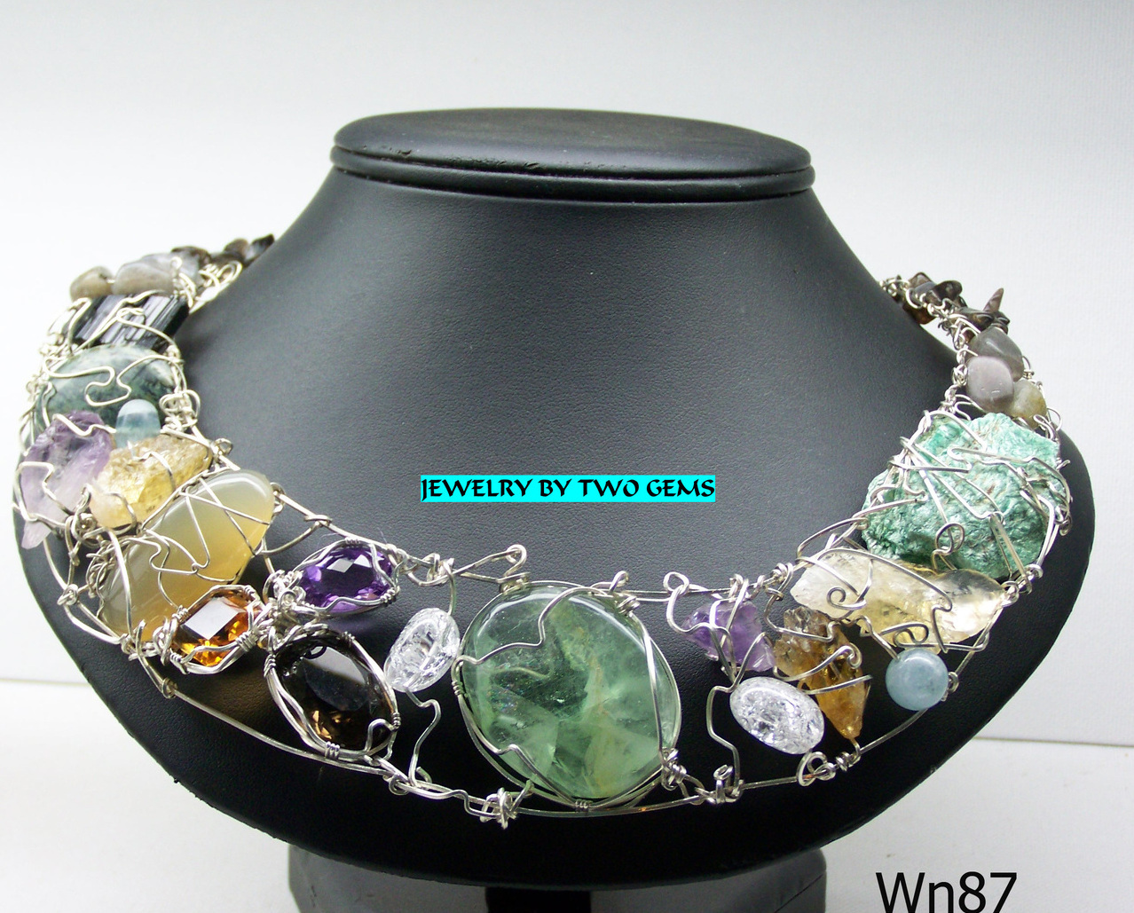 Jewelry By Two Gems (Wn89) The Crown Jewels Sterling Silver Wire Wrap Necklace