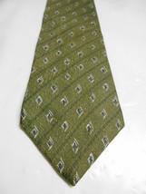 Claiborne Green Geometric Striped Silk Necktie w/ Blue Accents - $6.23