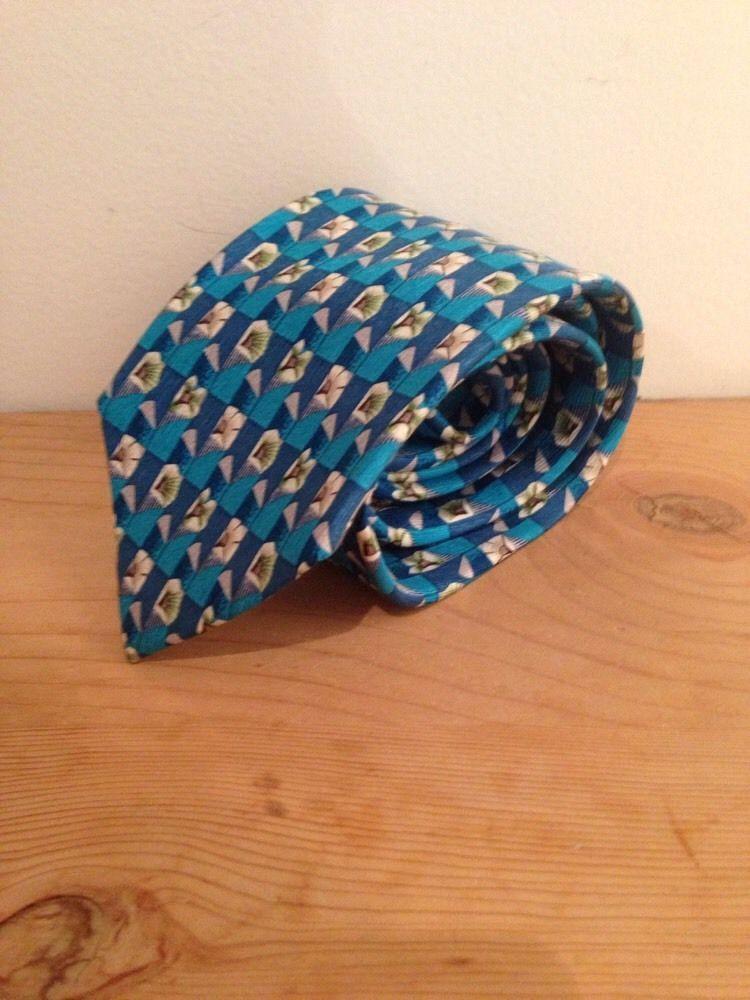 Geoffrey Beene Aqua Blue White Floral Motif Neck Tie Silk image 5