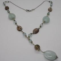 Silver necklace 925, Aquamarine Oval, Smoky Quartz Oval and Round, Pendant image 1