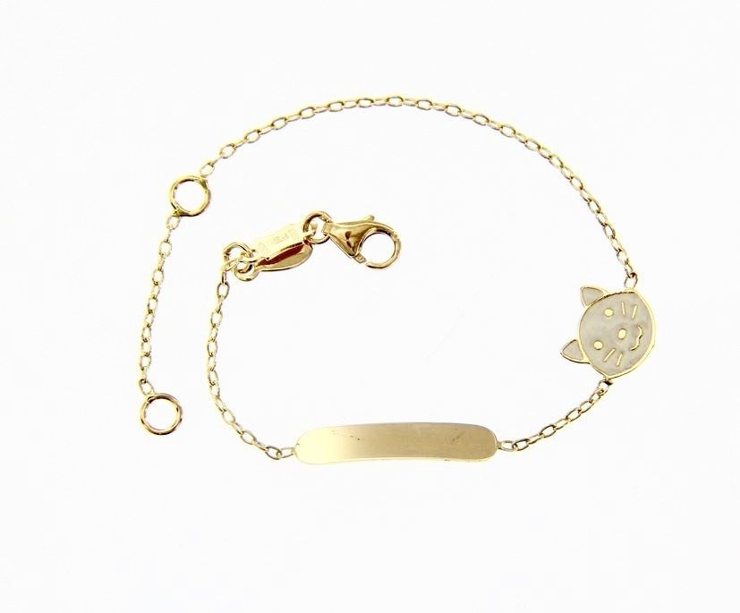 18 KT YELLOW GOLD BRACELET FOR KIDS WITH GLAZED KITTEN CAT MADE IN ITALY 5.5 IN