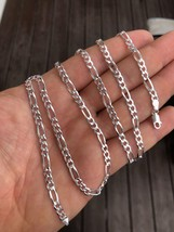 """Solid 925 Sterling Silver Figaro Chain Necklace ITALY Men Women 4mm 16-30"""" - $12.64+"""