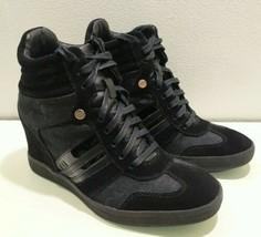 "Coach Alara women's 3""wedge sneakers suede signature logo black 7M *feels size 6 - $42.98"