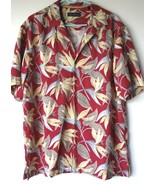 Reyn Spooner Shirt Large Hawaiian Red Floral Design Short Sleeve Button ... - $11.83