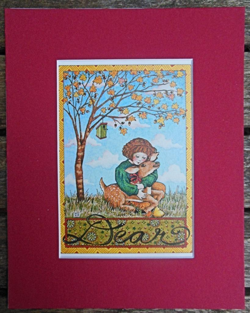 "Mary Engelbreit Print Matted 8 x 10 ""Dear""  Autumn Deer"