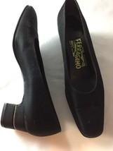 Salvatore Ferragamo Florence 7 2AA Crystal Rhinestone @ Heel Pumps Black... - $46.45