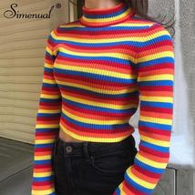 Simenual Rainbow stripes sweater jumper knitwear 2018 fashion slim sexy ... - $37.82
