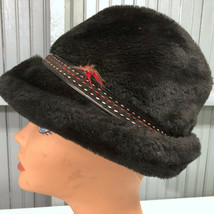 Vintage Size Small Faux Fur Winter Dad Black Hat Cap USA - $15.23