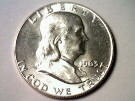 1963-D Franklin Half Dollar Choice Uncirculated Ch.Unc Nice Original Coin - $19.00