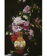 Hmong Floral Bouquet Silk Embroidery Original Museum Masterpiece Art Fra... - $759.99