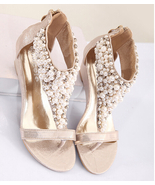 Golden Women Pearls Bridals Wedges Sandals,Golden Ladies Wedding Wedges ... - $39.99