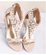 Golden Women Pearls Bridals Wedges Sandals,Golden Ladies Wedding Wedges ... - £32.57 GBP
