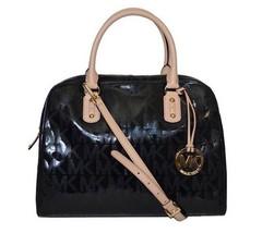 Michael Kors Women's Authentic Black MK Signature Metallic Large Satchel... - $328.23