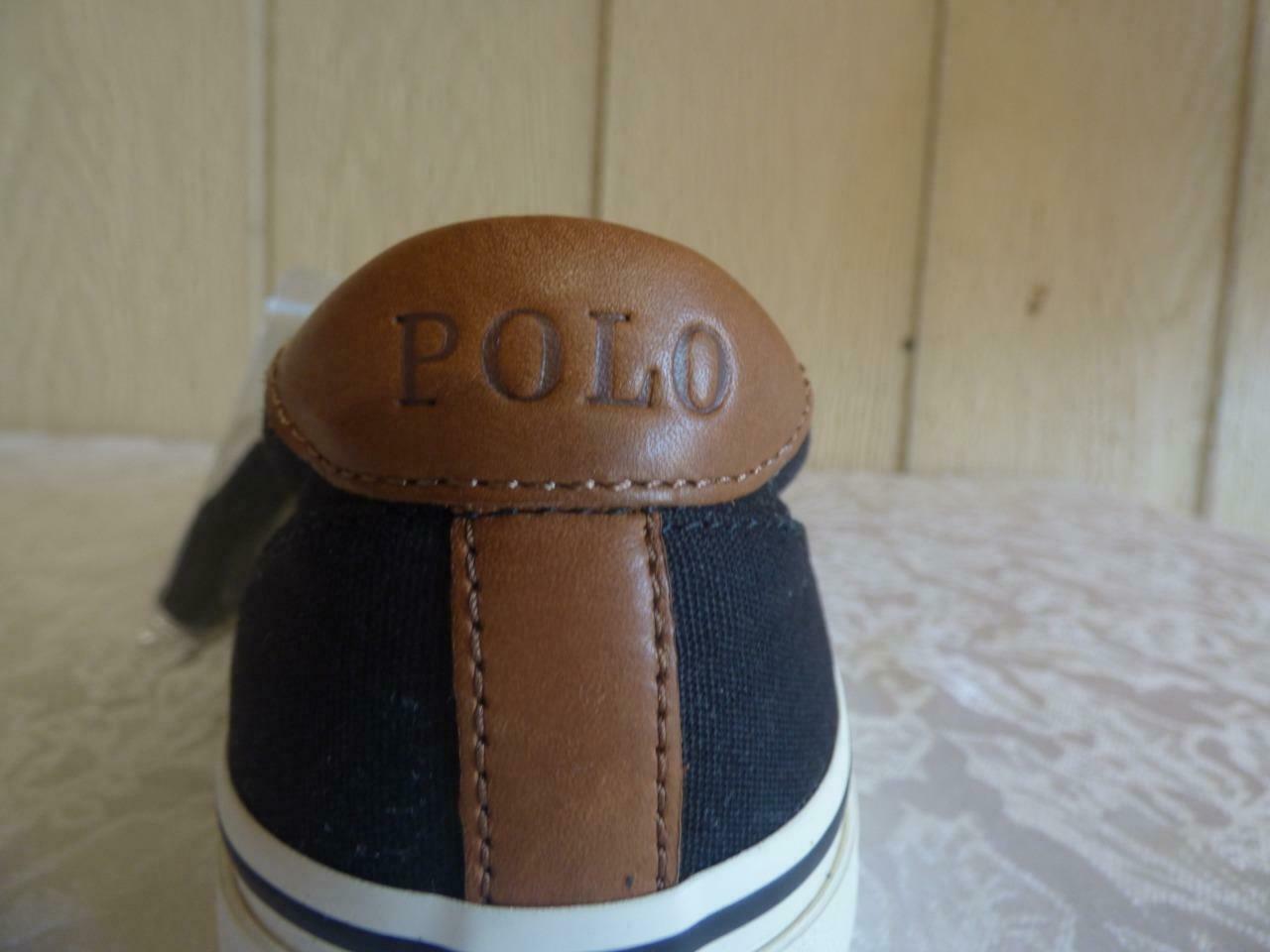 $65.0 Polo Ralph Lauren Men's Thorton Lace-Up Sneakers, Canvas, Black, Size 9, D