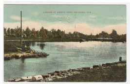 North Park Lagoon Oshkosh Wisconsin WI 1909 postcard - $5.94