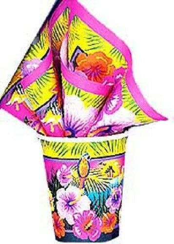 Luau Hibiscus Flower Parrot Beach 9 oz Cups 8 ct Hot Cold Paper Party