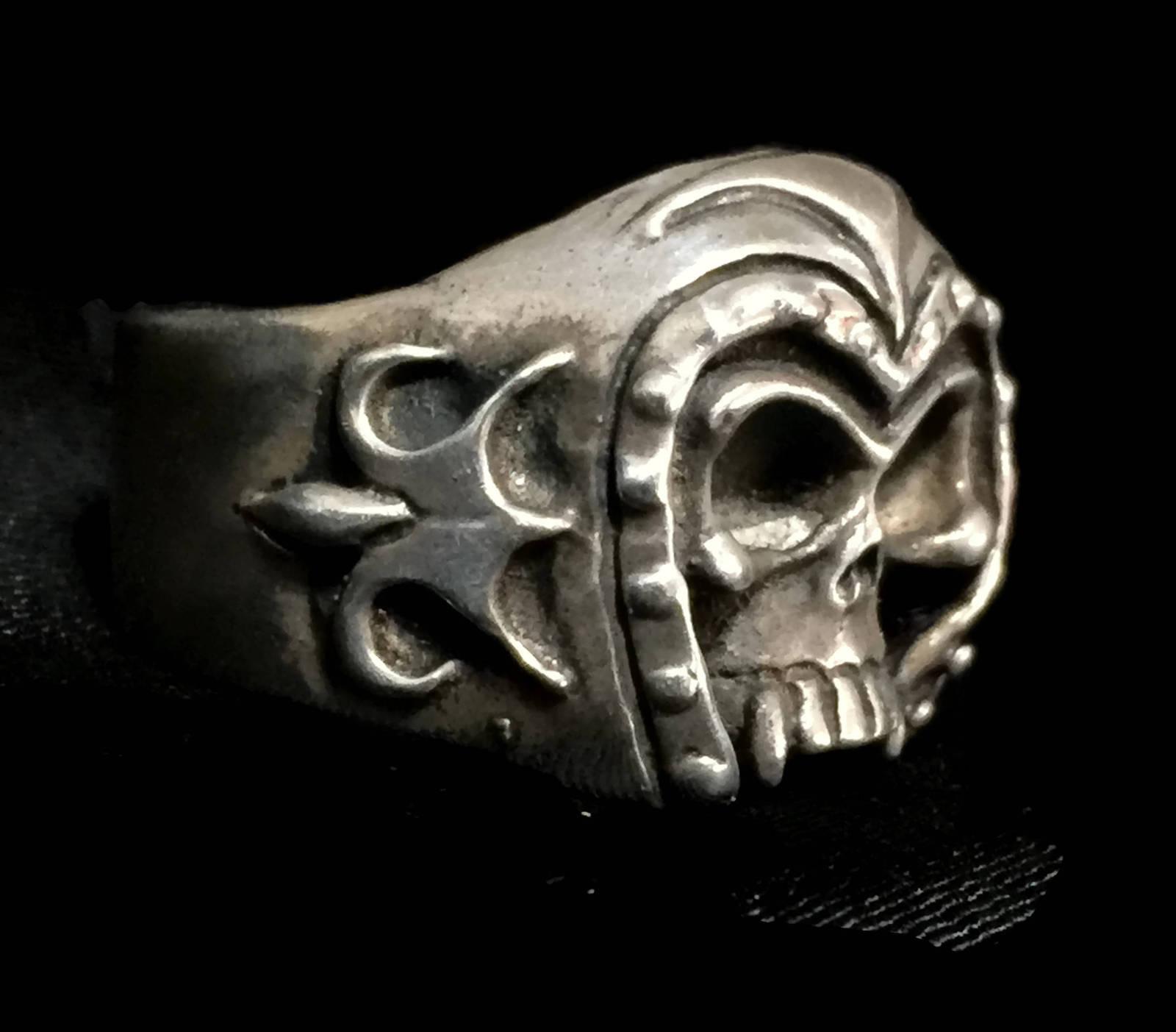 Men Skull Biker Sterling Silver Vintage Gothic Punk Ring w Helmet Size 11.25