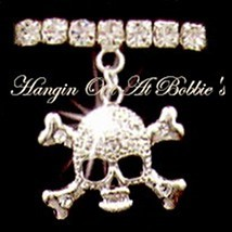 Skull Crossbones Anklet Charm Dangle Clear Crystal Stretch Band Silvertone Metal - $21.99