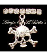 Skull Crossbones Anklet Charm Dangle Clear Crystal Stretch Band Silverto... - $21.99