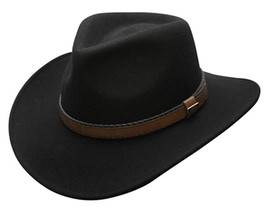 NEW Conner CRUSHABLE 100% Water Proof WOOL Outback Cowboy Hat Black C1020 - €56,48 EUR
