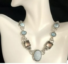 Michael Dawkins Milky Aqua Crystal, Topaz, MOP, 20 In. Long Necklace - $189.00