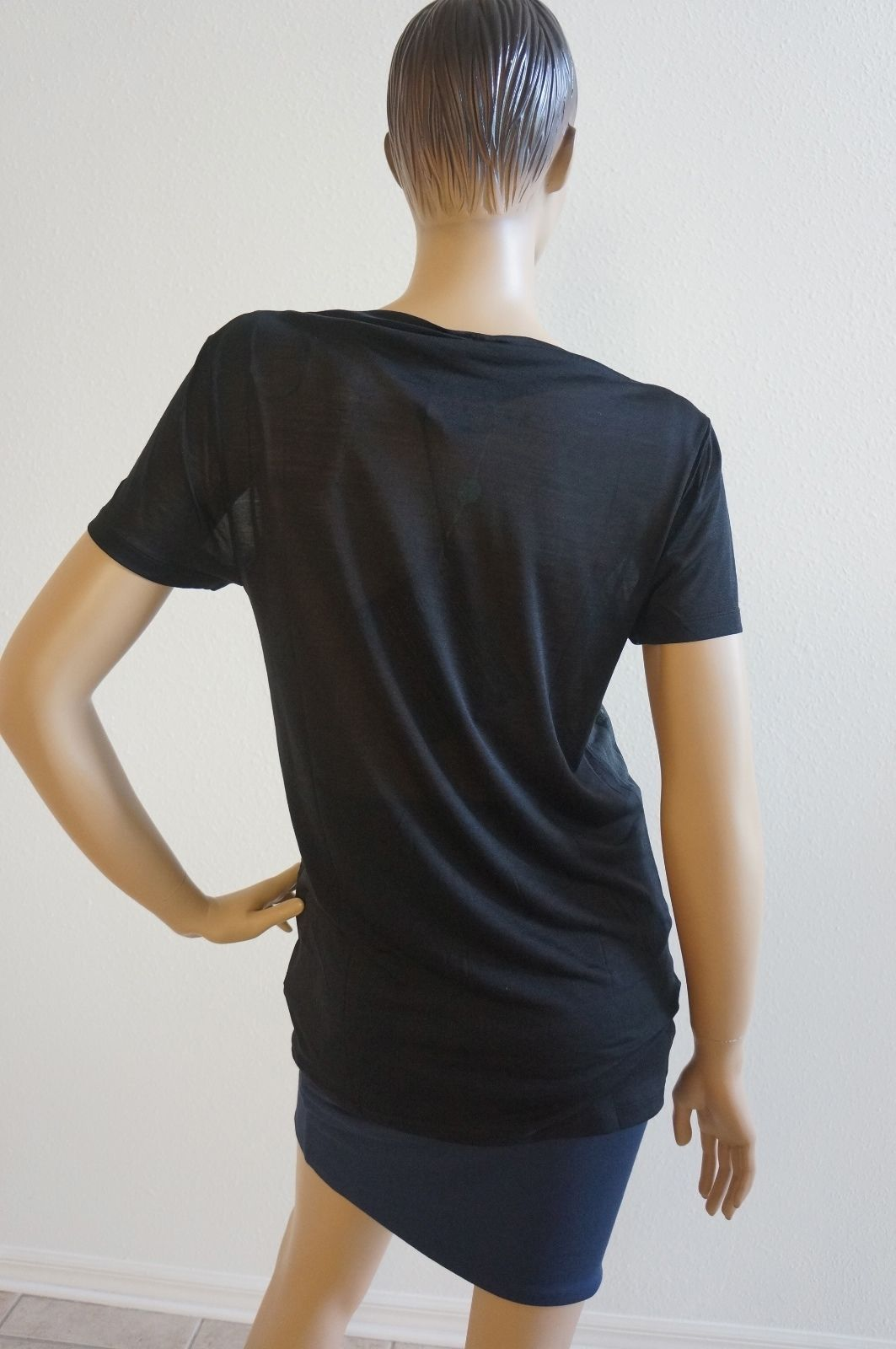 NEW Diesel Black Gold Black 100% Silk Top T-shirt Sz L