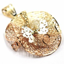 18K YELLOW WHITE ROSE GOLD FLOWER, ONDULATE, FINELY WORKED GRID BIG PENDANT image 2