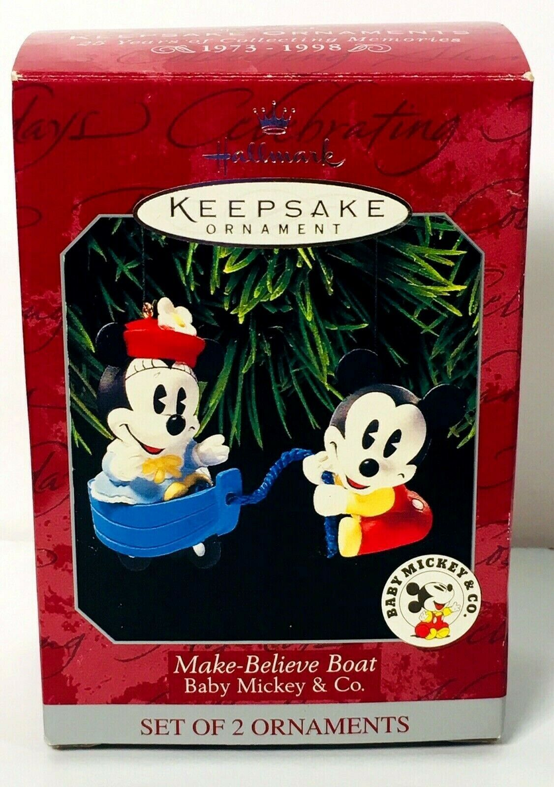 Primary image for Hallmark Keepsake Ornament Make-Believe Boat Baby Mickey & Co Minnie Disney