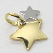 Gelb Gold Anhänger Weiß 750 18k, Doppel Stern Überlagert, Made in Italy image 3