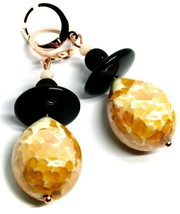 """PENDANT ROSE EARRINGS BLACK, ORANGE SPOTTED DROP MURANO GLASS 5cm 2"""" ITALY MADE image 1"""