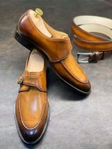 Handmade Men's Tan Leather Monk Strap Dress/Formal Shoes image 1