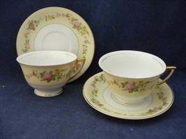 2 Vtg Meito Hand Painted Cup & Saucers Sets Cream Rim Multi-colored Flow... - $19.95